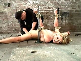 Lithe Blondie Mummy Is Tied In The Splits. We Paddle, Whip & Make This Mom Jizm Like A Whore.