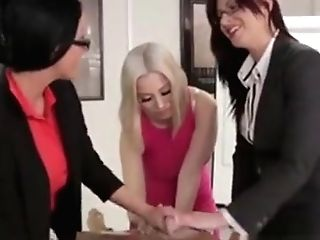 Brit Cfnm Stunners Rubdown Naked Stud In Office