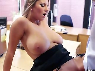 Chesty Dame In Stockings Banged In An Office