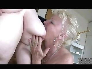 Fat Lesbo Matures Sucking Old Manstick