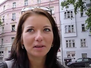 Czech Dark-haired Is Sucking A Random Guys Dick And Hoping To Rail It For A While