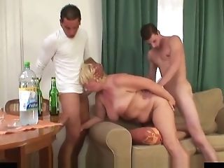 Boozed Old Granny Gets Dual-banged