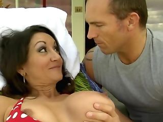 Big Titted Dark Haired Cougar Works Her Hairy Snatch On A Large Prick