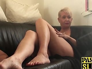 Promiscuous Old Hag Gets Dual Penetrated And Smacked Around