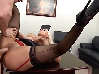 Drilling This Blonde Whore In His Office