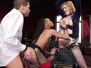 Black Mistress Nikki Darling And Her Assistant Fuck Tied Up Crimson Haired Mummy