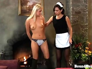 Disappeared On Arrival: Lesbo Submissive Getting Down On All Fours In Front Of Climaxing Mistress