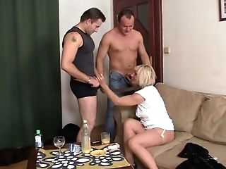 Hot Blonde Mommy Guzzles Two Fuck-sticks At Once