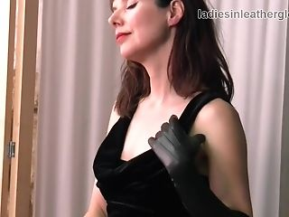 Posh Brit Dark Haired Cougar Taunts In Nylons Leather Gloves