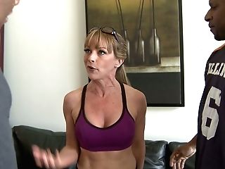 Sporty Blonde Cougar Shayla Laveaux Gets Two Bbcs To Please