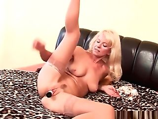 Granny In Stockings Fucks Herself With A Faux-cock
